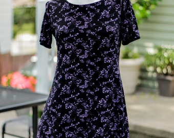 Vintage 90s Grunge Mini Dress Stretchy Black Lavender Floral USA Petite Medium Spandex