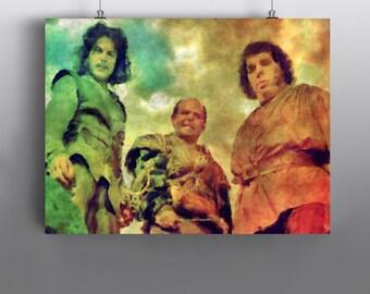 The Princess Bride  -   Vizzini Fezzik and Inigo Montoya, Art Print, Mixed Media Watercolor Poster,  No108