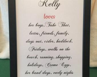 Personalised 'loves' frame
