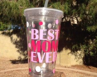Best Mom Ever Tumbler, Travel Cup, Pink, Blue