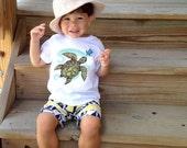 Baby T-shirt, Hawaiian-Honu Turtle, Toddler T-shirt, Kid t shirt, Hawaii Baby – white cotton, exclusive design, unisex