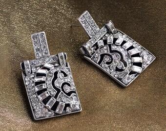 Art Deco Wedding Earrings, 1920s Earrings, Art Deco Jewelry, Bridal Jewelry, Silver Crystal Earrings, Vintage Bride, Wedding Jewelry E112