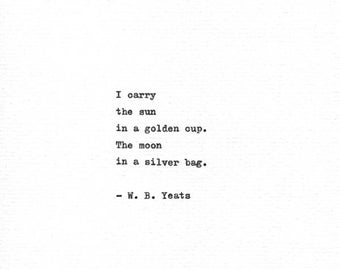 Yeats Letterpress Poetry Art Sun and Moon Vintage Typewriter ...