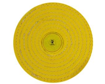 "6"" x 12 Folds Knife Edge Stitched Yellow Muslin Buffs Jewelry Polishing Tool - POL-0080"