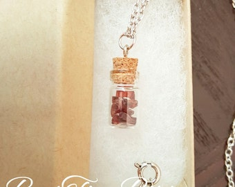 Garnet Gemstones | Vial Necklace | Gifts for her