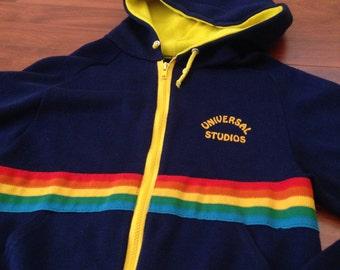 70's/80's Retro Universal Studios Rainbow Hoodie - Small - Made in USA