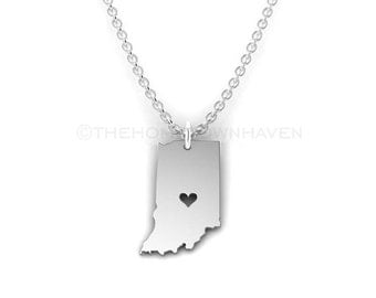 Indiana Necklace - Indiana State necklace, I Love Indiana necklace, Silver Indiana Charm