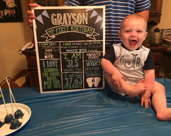 My First Birthday stats sign - Chalkboard - photo prop - birthday - one years old - my first birthday - birthday party decor