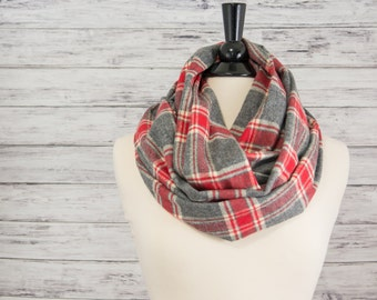 Plaid Infinity Scarf- Christmas Gift Idea for Her- Infinity Scarf- Gray Infinity Scarf- Christmas Scarf- Christmas Gift for Teacher