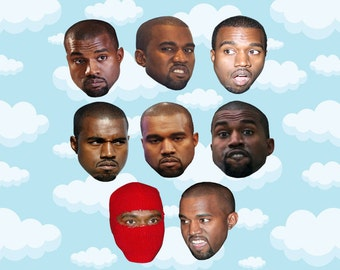 "Kanye West Expressions Sticker Pack 8 ct 2 x 1.5"" - Kanye West - Kanye - Kanye Stickers - Kanye West Stickers - Kanye Gift"