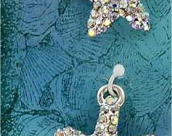 Starfish Earrings, Dangle Starfish Earrings, Beach Earrings, Rhinestone Earrings, Silver Earrings, Hypoallergenic, Silver Dangle Earrings