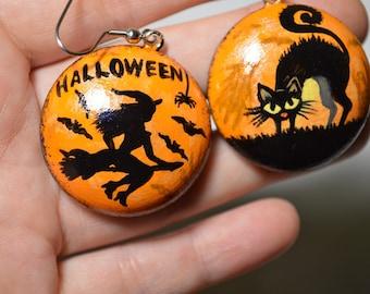 halloween earrings painting Orange wood earrings handpainted jewelry halloween gift handmade wooden orange black gift ethnic Folk earrings