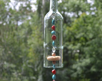Wine Bottle Wind Chime/Turquoise & Red Wind Chime