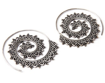 White Brass Big Tribal Hearts Design Spiral Earrings Tribal Earrings Mandala Jewellery Free UK Delivery Giftboxed and Giftbag WB50