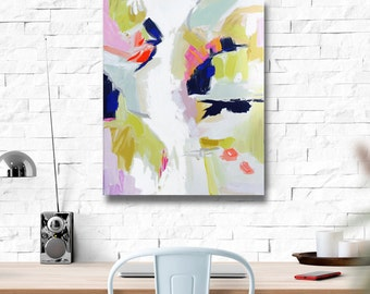 Modern Art Print , Abstract Print, 4x5 to 24x30, pink, lime, mint, aqua, marendevineart