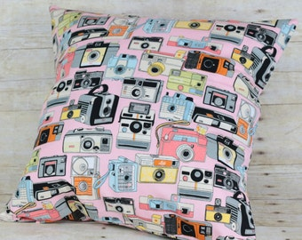 pillow cover with vintage camera print