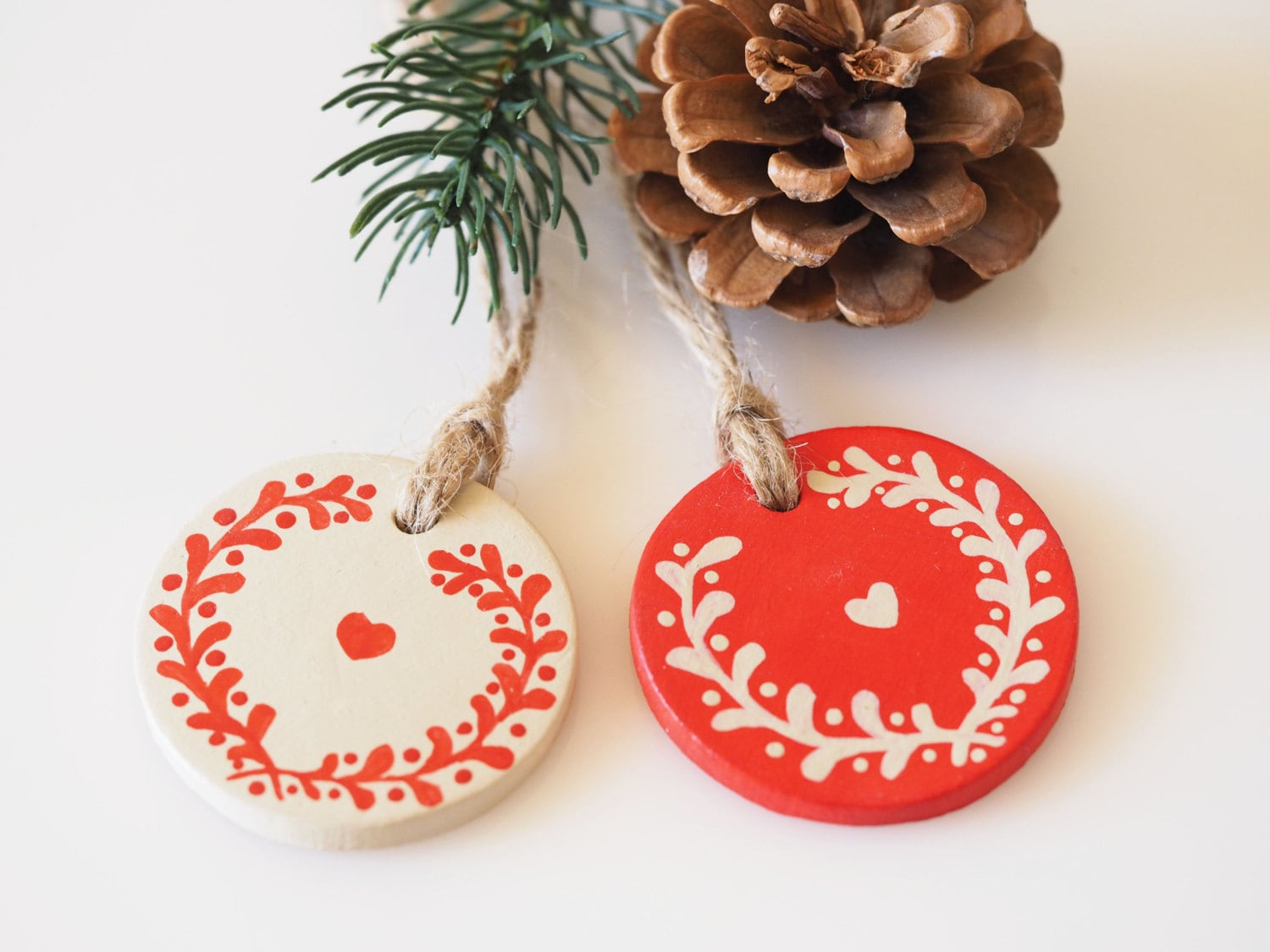 Nordic christmas ornaments - Scandinavian Christmas Decorations Set Of 2 Clay Home Ornaments Nordic Christmas Decor Rustic