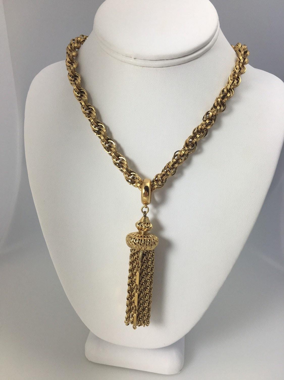 vintage monet tassel chain necklace 24 monet gold