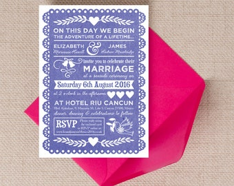 Indigo Blue Papel Picado Mexican Bunting Wedding Invitation & RSVP with envelopes