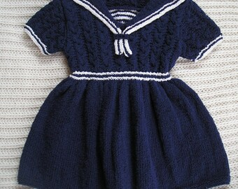 Cotton Baby Sailor's Dress , Navy Baby Dress , Sailor's Frock , Baby Dress 1 year old , Navy & White Sailor's Dress , Cotton Baby Dress Navy
