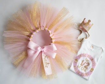 Half Birthday Girl Outfit - Personalized Outfit - 1/2 Birthday Tutu Princess - Pink and Gold - Glitter Set - Birthday Crown