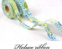 "Blue Garden Flowers Folding Fabric Ribbon / 1""(25mm),1.5""(40mm) / 100% Cotton Ribbon tape / made in korea"