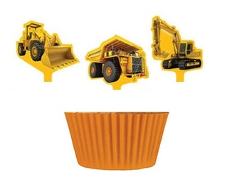 Construction Truck Cupcake Picks with 12 Orange Baking Cups