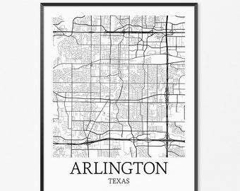 Arlington Map Art Print, Arlington Poster Map of Arlington Decor, Arlington City Map Art, Arlington Gift, Arlington Texas Art Poster