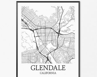 Glendale Map Art Print, Glendale Poster Map of Glendale Decor, Glendale City Map Art, Glendale Gift, Glendale California Art Poster