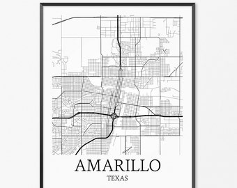 Amarillo Map Art Print, Amarillo Poster Map of Amarillo Decor, Amarillo City Map Art, Amarillo Gift, Amarillo Texas Art Poster