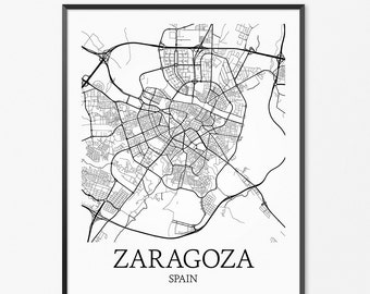 Zaragoza Map Art Print, Zaragoza Poster Map of Zaragoza Decor, Zaragoza City Map Art, Zaragoza Gift, Zaragoza Spain Art Poster