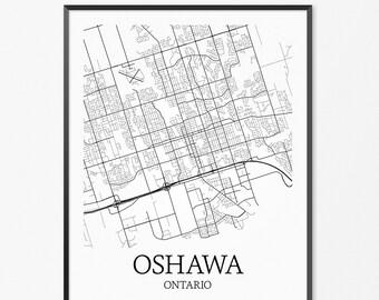 Oshawa Map Art Print, Oshawa Poster Map of Oshawa Decor, Oshawa City Map Art, Oshawa Gift, Oshawa Ontario Art Poster