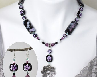 """Jewelry Set - Purple and black beaded glass necklace (20"""") and matching earring set - #1031"""