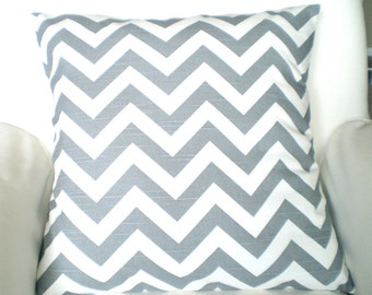 Gray Chevron Pillow Covers, Decorative Throw Pillows, Cushion Covers, Pillows for Couch, Grey White Slub Zig Zag, One or More All Sizes
