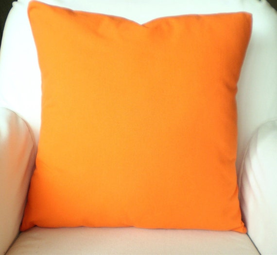 Solid Orange Pillow Covers Cushion Covers by PillowCushionCovers