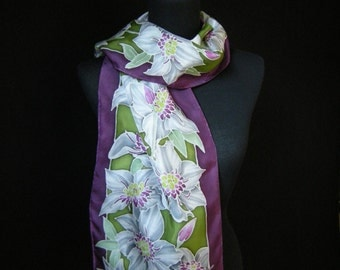 Hand Painted Victorian White Clematis Sillk Scarf