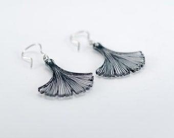 Ginkgo Earrings, Black Earrings, Plastic Earrings, Statement Earrings, Plastic Jewelry, Laser Cut Earrings, Laser Cut Jewelry, Light Earring