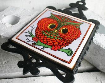 Vintage Owl Trivet - Ceramic Tile and Cast Iron - Made in Japan