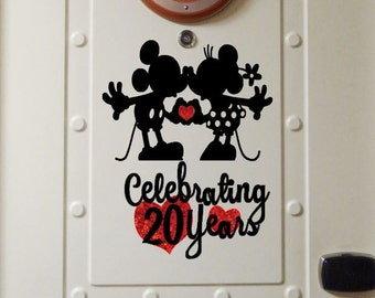 Personalized Mickey & Minnie Anniversary- Disney Cruise Magnets