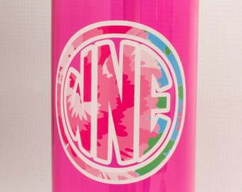 Large personalized 24 oz Water Bottle/Lilly Pulitzer inspired/floral monogram