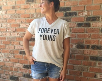Adult forever young tee