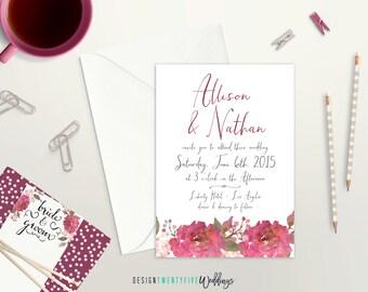 Simple Floral Wedding Invitation Suite // 5x7 // The Allison Collection // Choose Your Set!