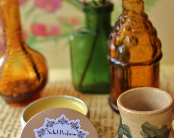 Patchouli and sandalwood, Solid Perfume, Beauty, tin pot