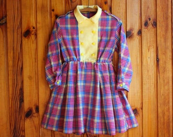 SALE! Soviet Check Tea Dress / Peter Pan Collar Pink, Purple & Yellow Tartan Double Breasted Long Sleeve Dress / Latvia Vintage, Girl 3T 4T