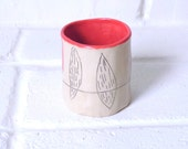 One Tiny Tea Cup  -Contemporary  Modern Ceramic Functional Pottery -Feather