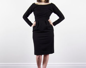 Vintage 1960s Black MAD MEN Dress / Wiggle Dress / Joan Dress / Dipped Button Back / XS/S