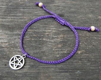 Pentagram Anklet,Pentagram Bracelet,Adjustable Drawstring,Bohemian Anklet,Gypsy Anklet,Summer Anklet,Woman,Ladies Anklet,Girls Anklet