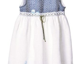 Girls Linen Dress. Girls Dress With Accessories.