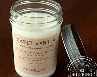 Small Vanilla Candle - Soy Vanilla Candle - Vanilla Scented Candle - Sweet Vanilla