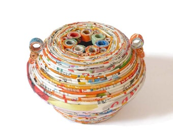 Recycled Paper Orange Vase Handles Circle Round Amphora Eco-Friendly First Anniversary